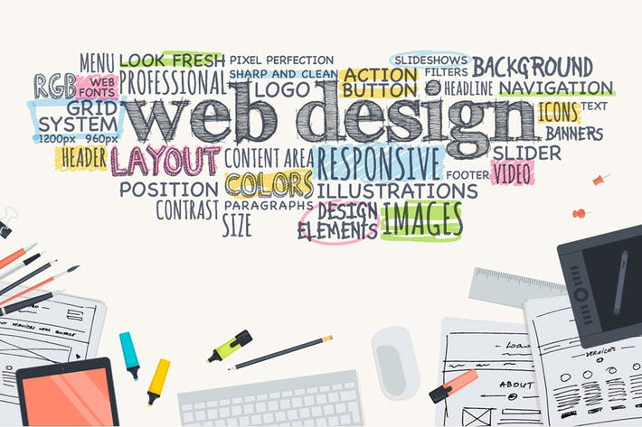 Flat Design Concept for Web Design