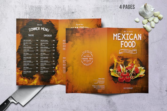 Thumbnail for Mexican A4 & US Letter Bifold Food Menu