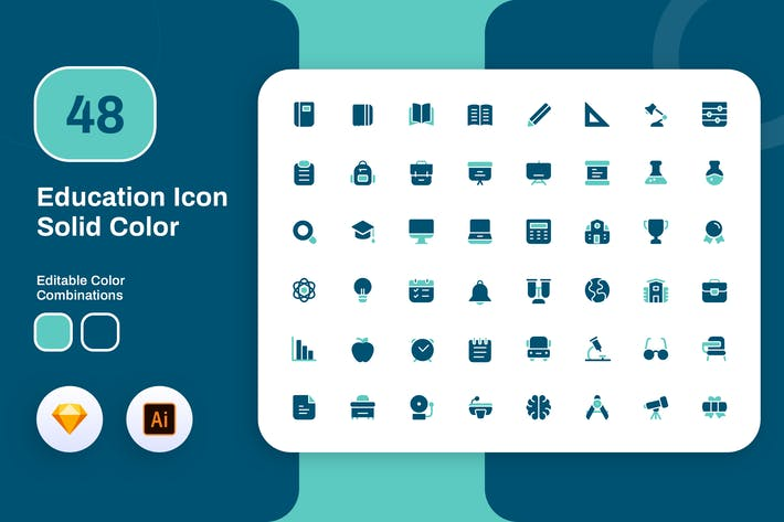 Thumbnail for Education Solid Color Icon Set