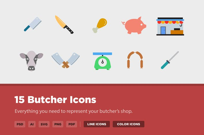 Thumbnail for 15 Butcher Icons