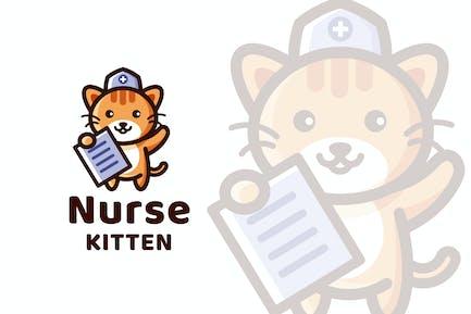 Nurse Kitten Logo Template