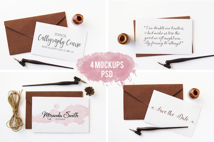 Thumbnail for 4 Photo Mockups. Calligraphy pen and an envelope