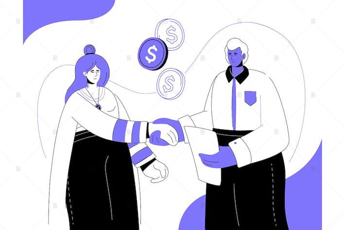 Thumbnail for Finanzielle Beziehungen - flache Gestaltung Illustration