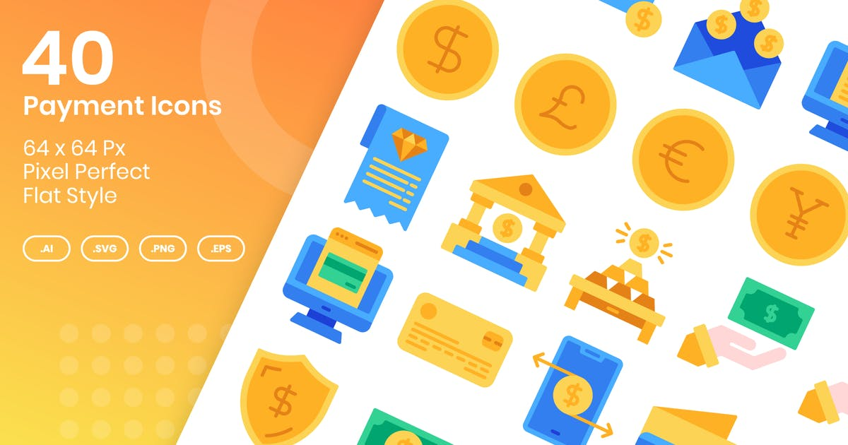 Download 40 Payment Icons Set - Flat by kmgdesignid