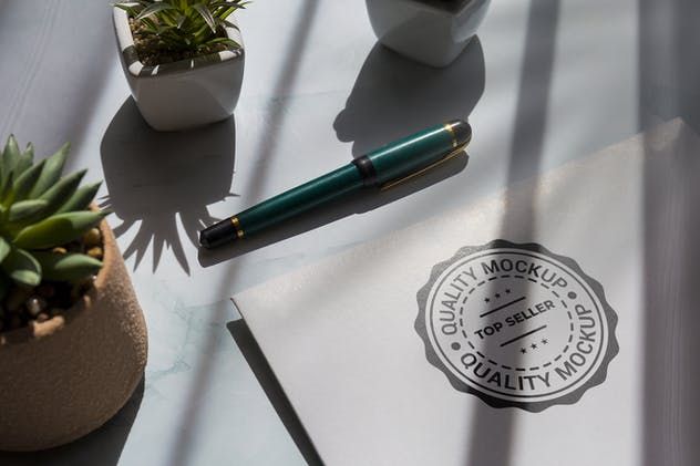 Stamp logo on white paper with plants Mockup
