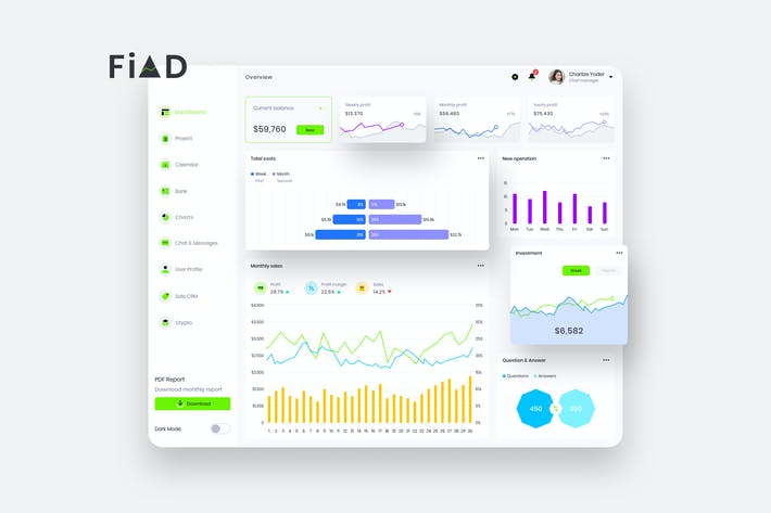 Thumbnail for FiAD Finance Dashboard Ui Light - P
