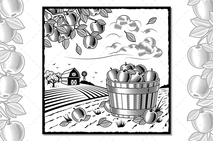Thumbnail for Landscape With Apple Harvest Black And White