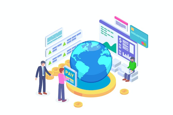 Thumbnail for International Payment Isometric Vector