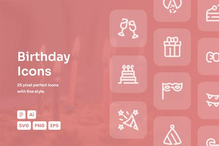 Birthday Dashed Line Icons