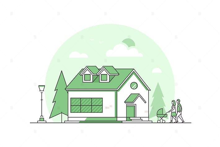 Thumbnail for Cottage house - line design style illustration