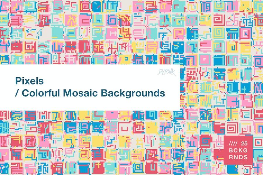 Pixels   Colorful Mosaic Backgrounds