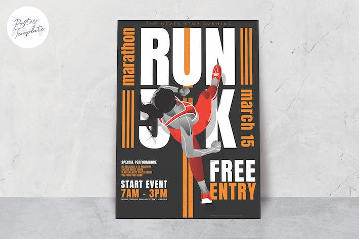 Thumbnail for Running Event Print Template