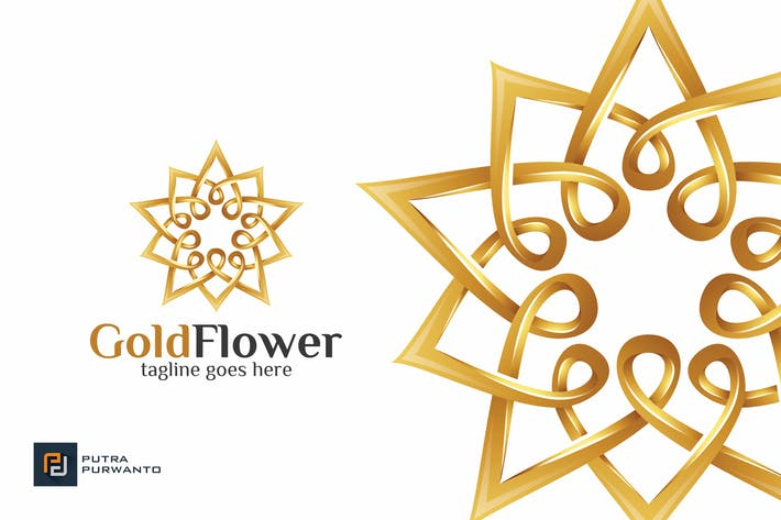 Thumbnail for Gold Flower / Mandala - Logo Template