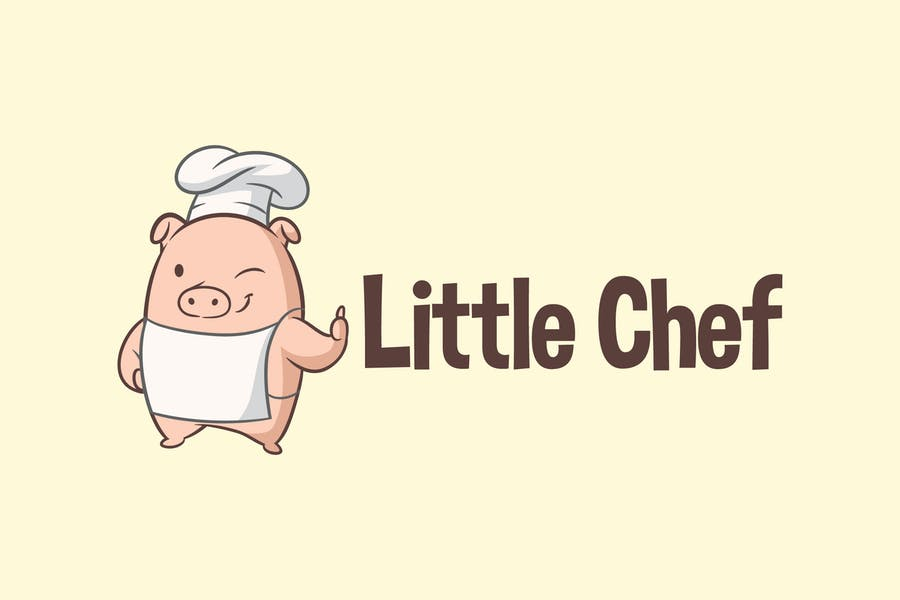 Cartoon Cute Little Pig Chef Mascot Logo