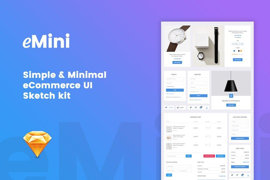 eMini - Mini eCommerce UI Sketch kit