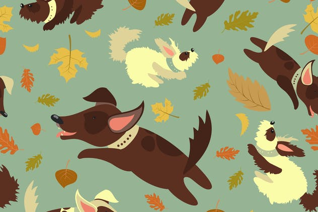 Seamless vector pattern,funny dogs playing