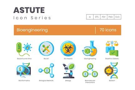 70 Bioengineering Flat Icons