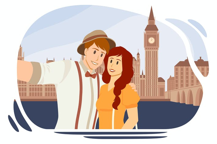 Thumbnail for Couple making selfie in London on Big Ben