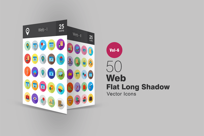 50 Web Flat Shadowed Icons