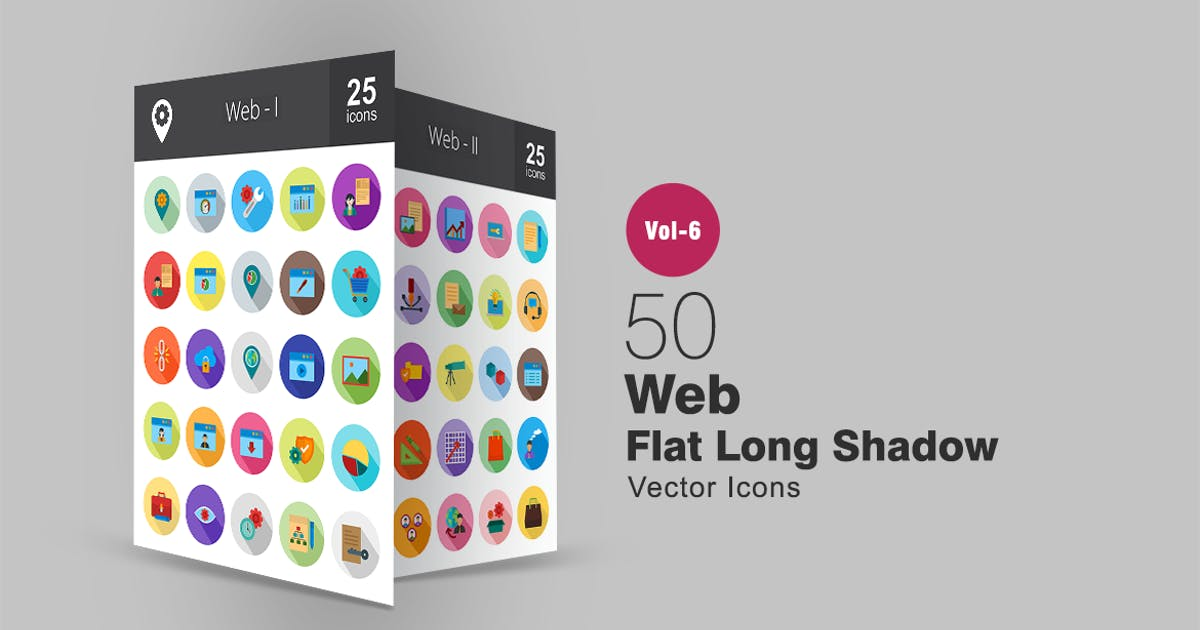 Download 50 Web Flat Shadowed Icons by IconBunny