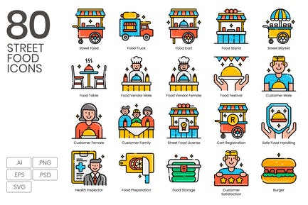 75 Street Food Icons - Aesthetics Series