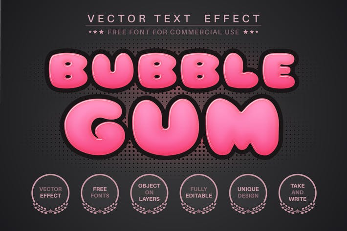 Bubble Gum - редактируемый текстовый эффект, стиль шрифта