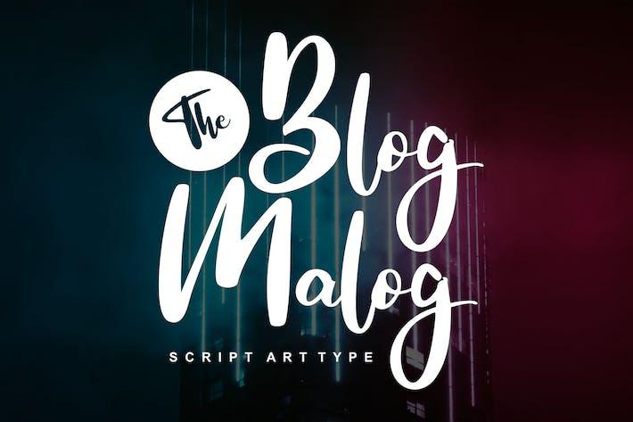 Thumbnail for The Blog Malog | Script Arttype Font