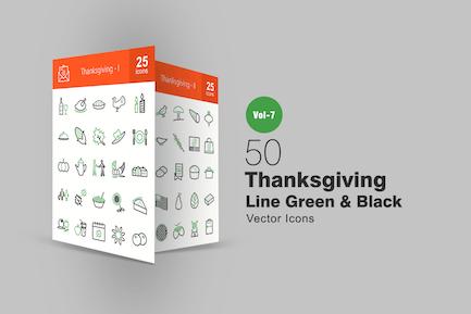 50 Thanksgiving Green & Black Line Icons