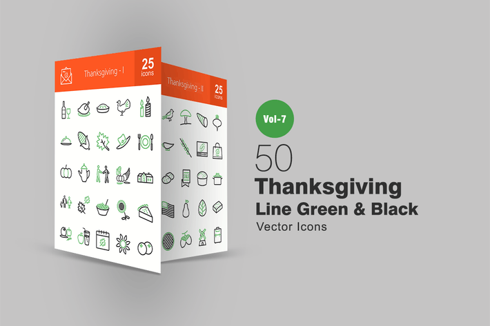 Thumbnail for 50 Thanksgiving Green & Black Line Icons