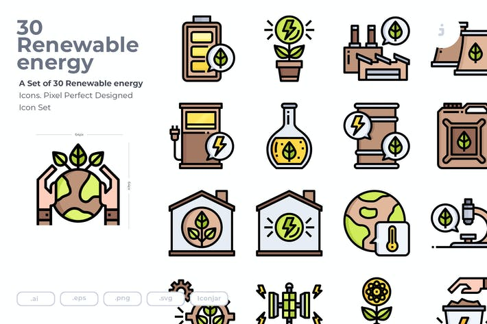 Thumbnail for 30 Renewable energy Icons