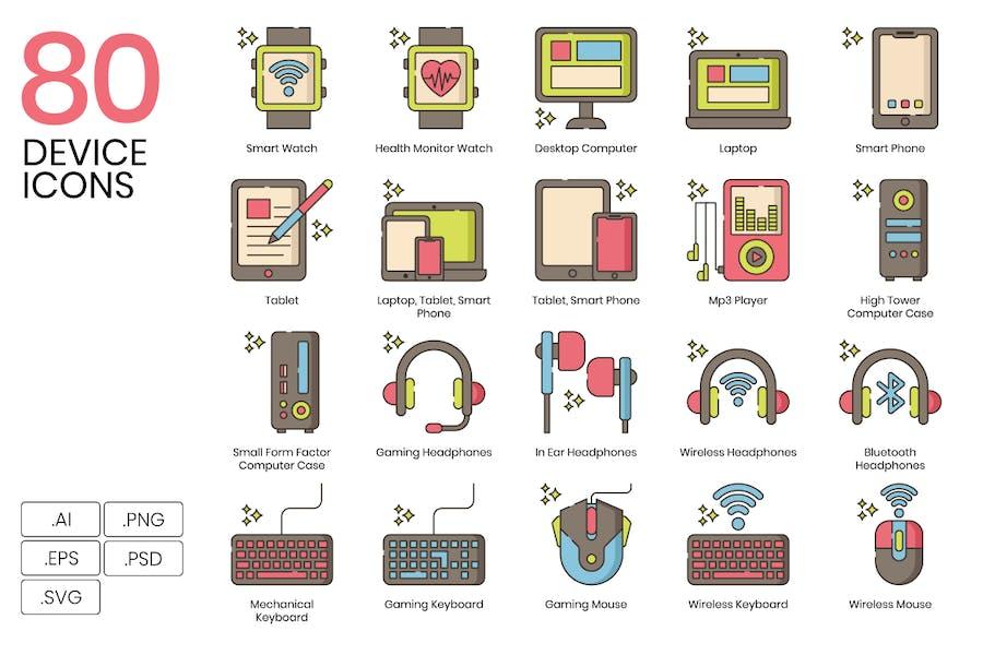 80 Device Line Icons