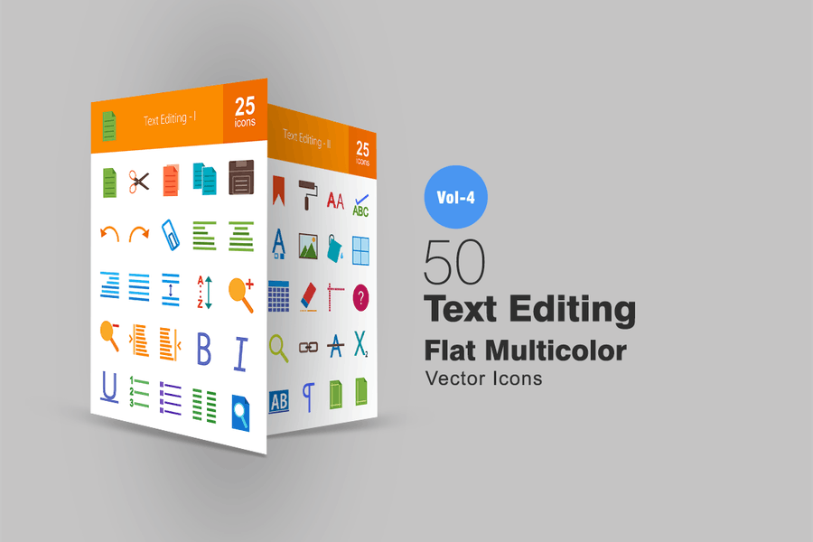 50 Text Editing Flat Multicolor Icons