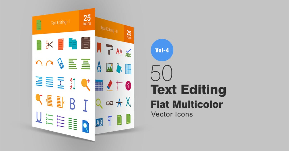 Download 50 Text Editing Flat Multicolor Icons by IconBunny