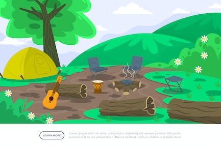 Camping Ground - Background Illustration