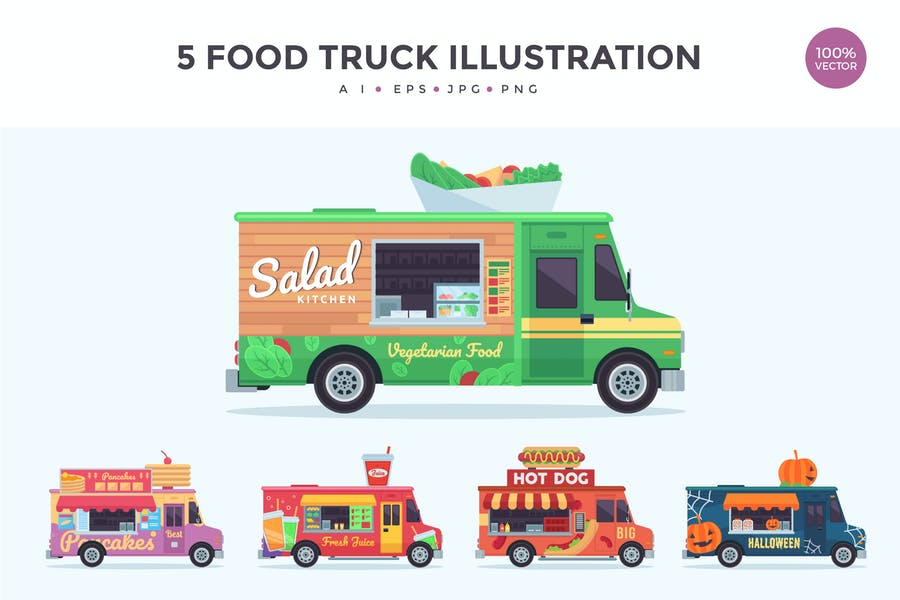 5 Food Truck Vector Illustration Set 3
