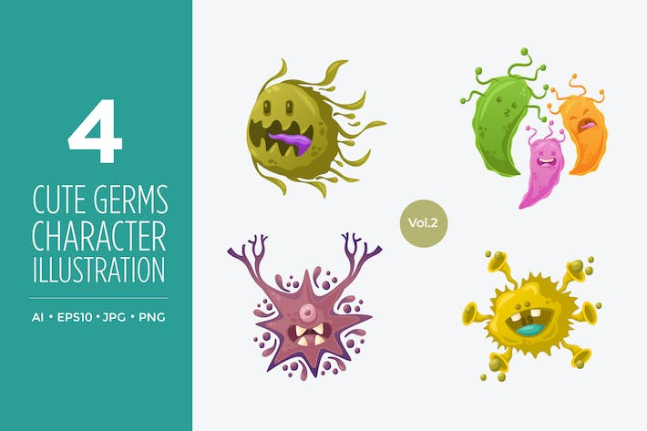 Thumbnail for Cute Germs And Bacteria Vector Character Set 2