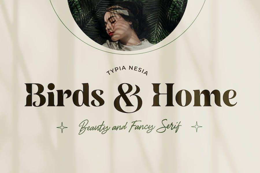 Birds and Home - Beauty Fancy Bold Serif