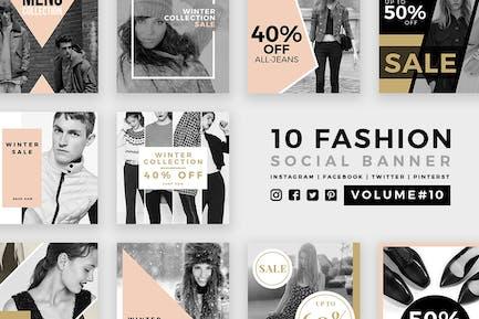 Модные социальные медиа баннеры - Kit 10