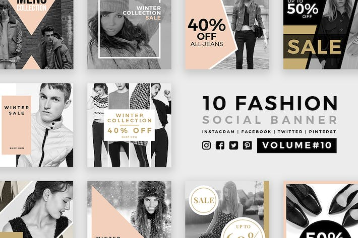 Thumbnail for Fashion Social Media Banners - Kit 10