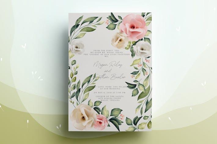 Thumbnail for Papier-Rose Hochzeits-Einladungskarte