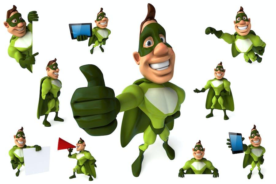 10 green Superheroes