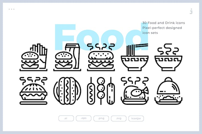 Cover Image For 30 Food and Drink Icons