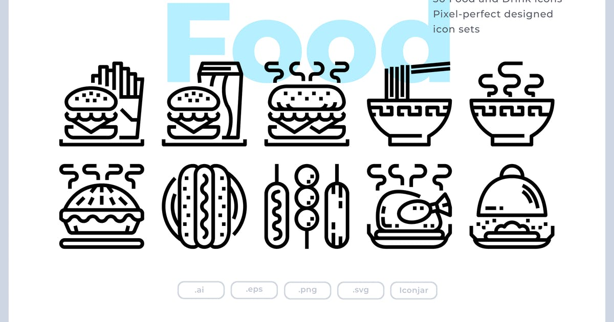Download 30 Food and Drink Icons by Justicon