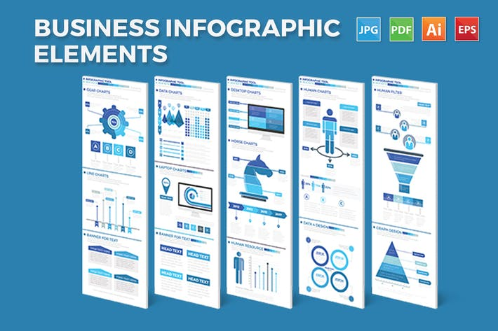Thumbnail for Blue Business Infographics Elements Design