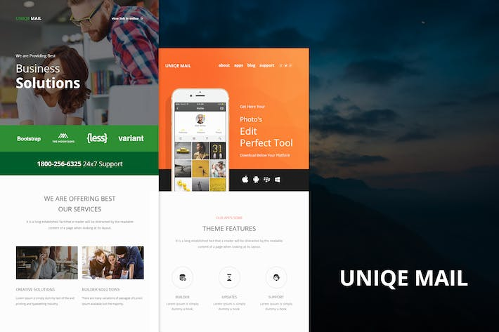 Thumbnail for Uniqe Mail - Responsive E-mail Templates