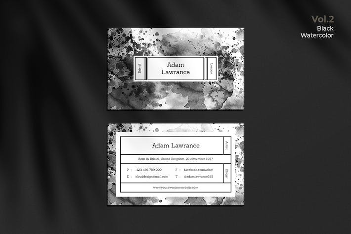Thumbnail for Business Card Watercolor Black Vol. 2