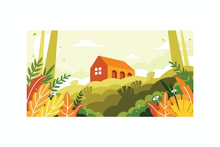 A view of a building on a hill illustration