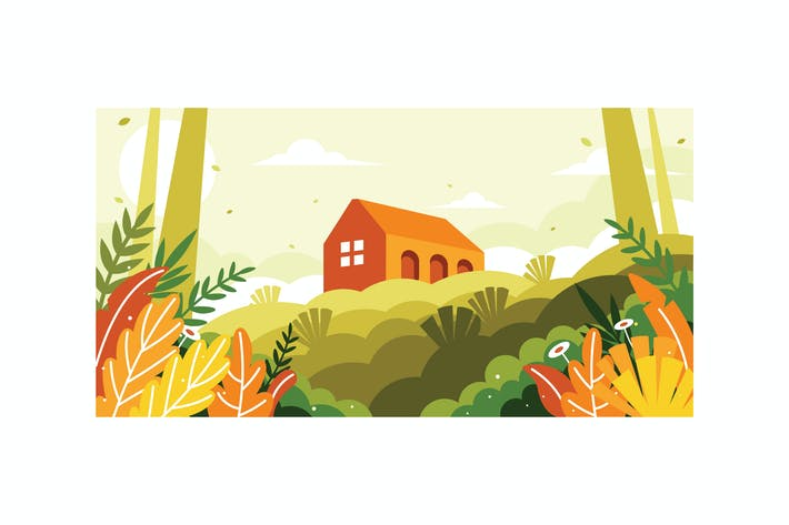 Thumbnail for A view of a building on a hill illustration