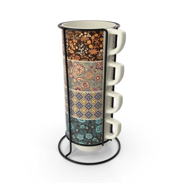 Juego de tazas de café apilables con estante de metal