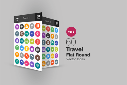 60 Travel Glyph Multicolor BG Icons